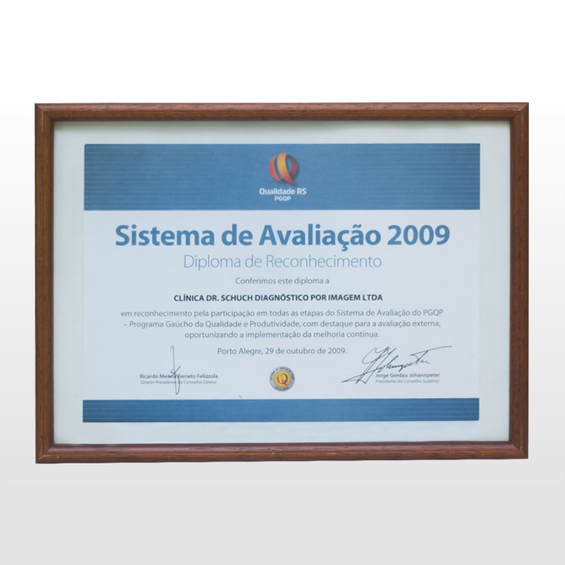 Reconhecimento pela participação nas etapas do Sistema de Avaliação do PGQP ( Programa Gaúcho de Qualidade e Produtividade) - 2009.